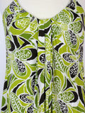 Trina Turk Racerback Pleated Bubble Hem Retro Print Dress  P