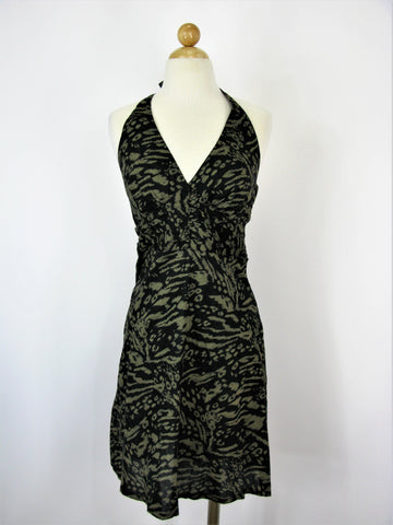 H&M Abstract Animal Camouflage Print Cotton Halter Dress NWT