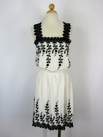 Max Studio Crochet Strap & Embellished Black & White Sundress M