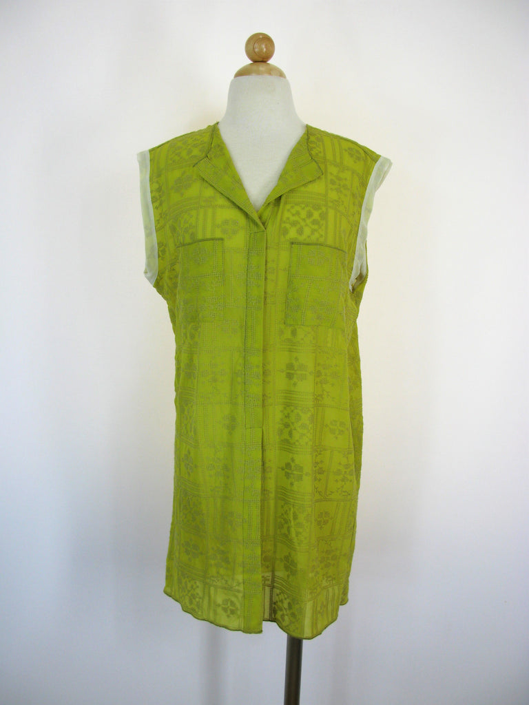 RTW Clothing Sheer Silky Chiffon Embroidered Sleeveless Tunic Top S/M