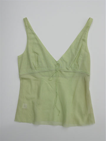 Stunning Tahari Sheer Woven Cotton Pale Green Camisole Tank 10