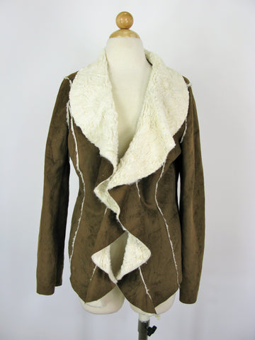 Jou Jou Faux Shearling Sueded Draped Collar Moto Jacket M
