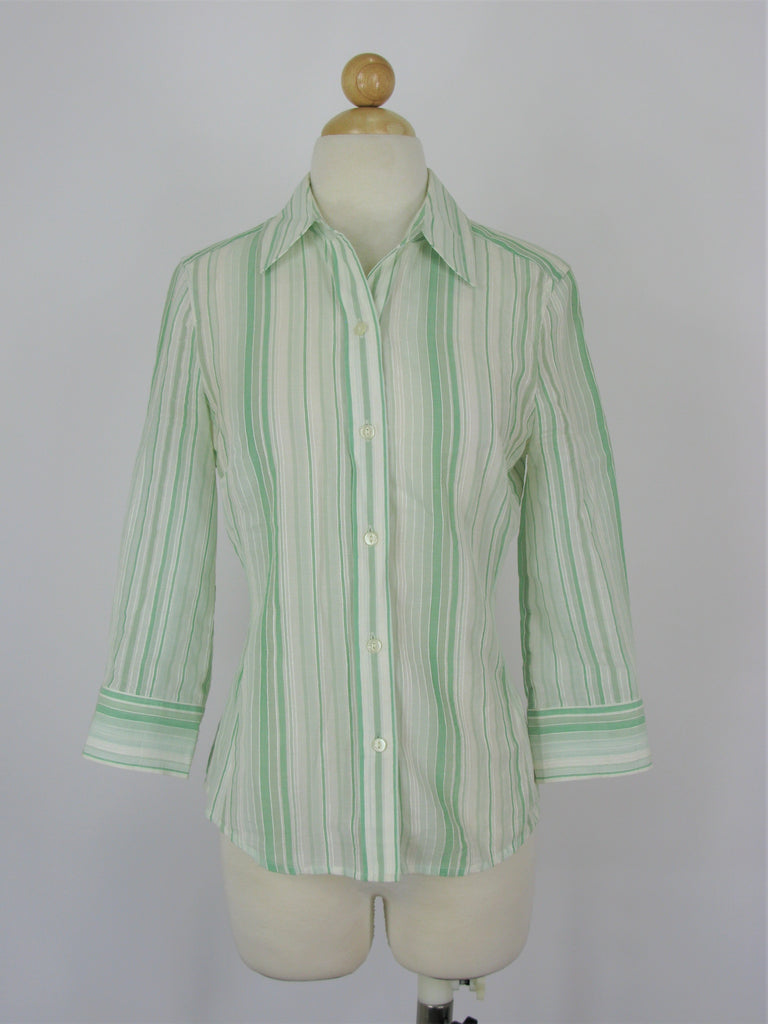 Banana Republic Button Down Cotton / Linen Mint Green Striped Top XS