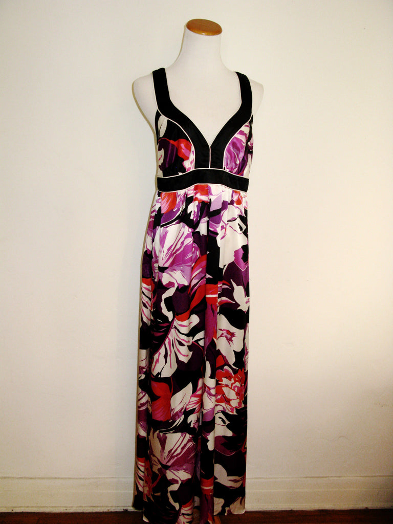 Banana Republic Floral Charmeuse Silk Maxi Dress 10 - ruby & sofia