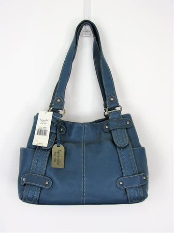 Tignanello Prato II Stud Tote Indigo Blue Pebbled Leather Handbag NWT