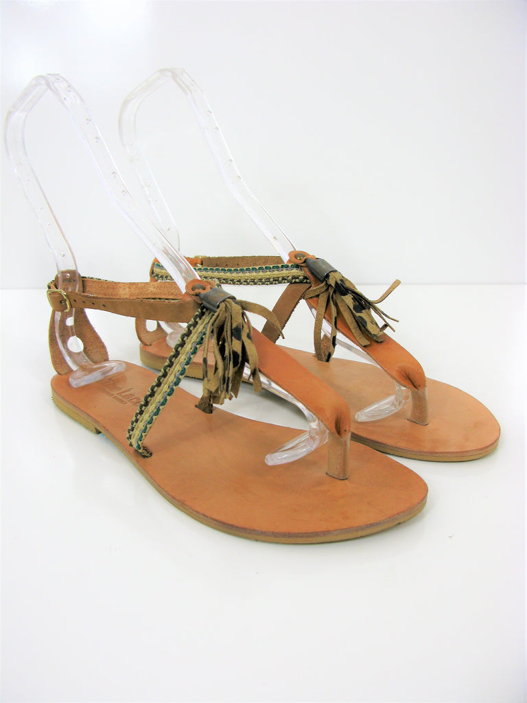 'The Lace' Handmade Leather T Strap Thong Tassel Sandals 7 NWOB