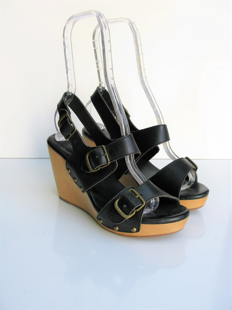 Madewell Tri Buckle Leather Wedge Sandals 7.5