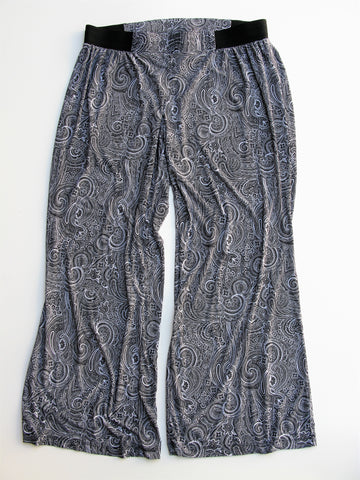 I.N.C International Concepts Paisley Jersey Knit Wide Leg Pants 1X
