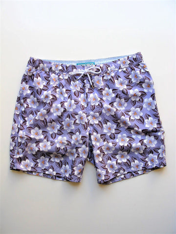 "Swim Trunks Bonobos The Banzai 7"" E-Waist Board Shorts Plumeria Print L"