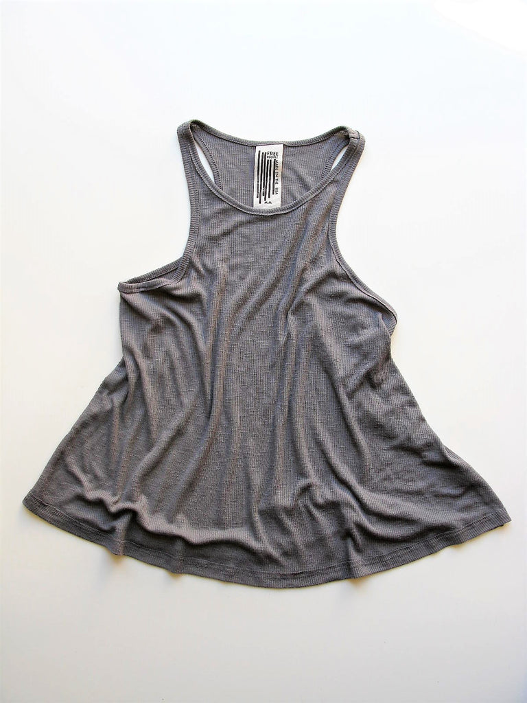 Free People Slub Long Beach Tank Grey