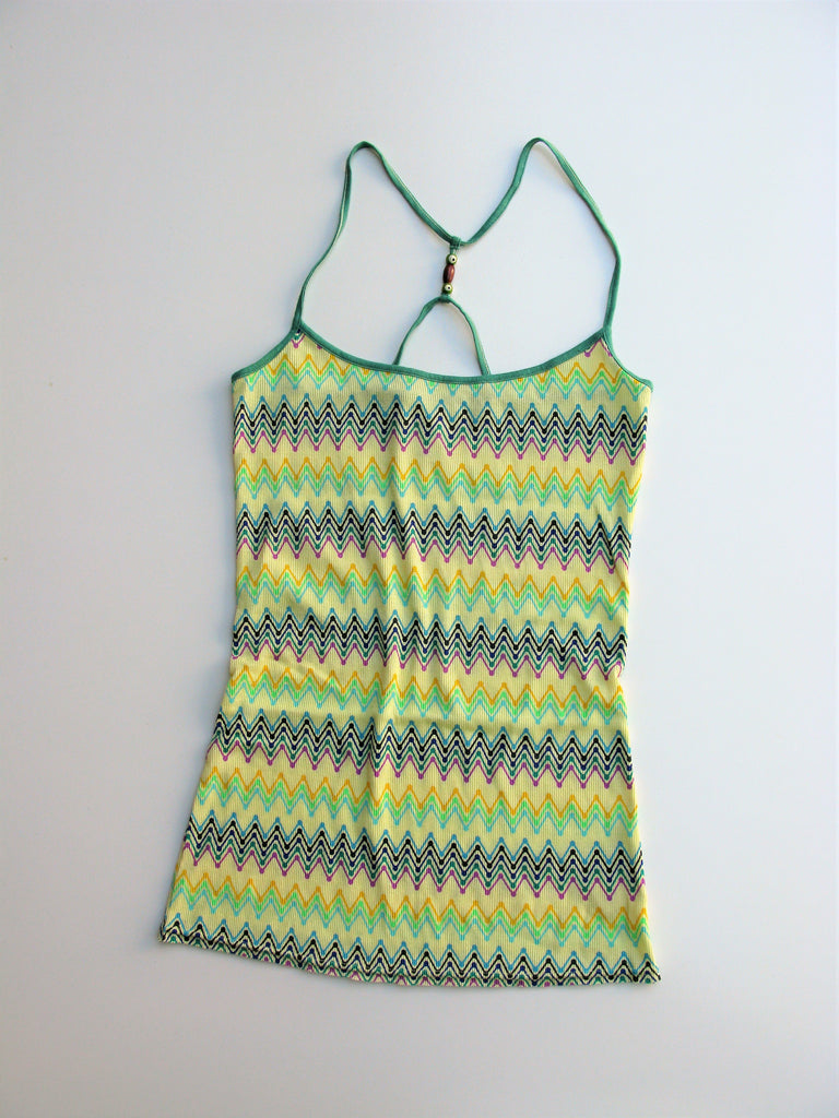 Free People String Beaded Ribbed Racerback Tank Top L NWOT
