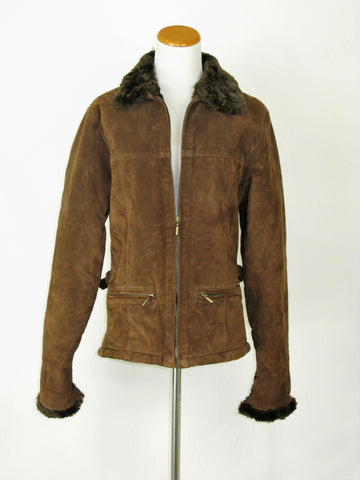 Guess Chocolate Brown Suede Leather Faux Fur Lined Bomber Moto Jacket S