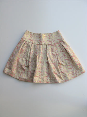 Anthropologie Moulinette Soeurs Sugarplum Gold Foil Brocade Skirt 0