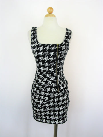 H&M Abstract Houndstooth Bodycon Fitted Poplin Pencil Dress S NWOT