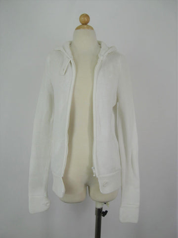 Hurley White Cotton Cable Knit Hooded Zip Cardigan