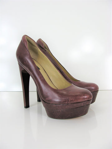 Rachel Zoe Maroon Platform Distressed Leather Pumps 8