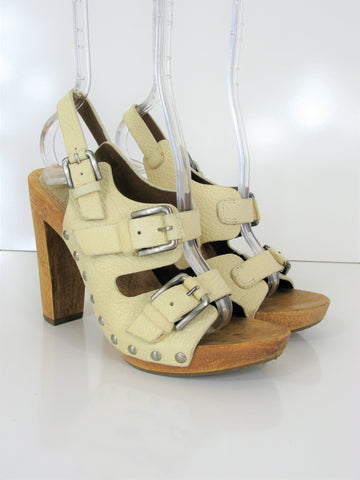 BCBG Max Azria Triple Buckle Pebbled Leather Wooden Platform Caged Sandals 7