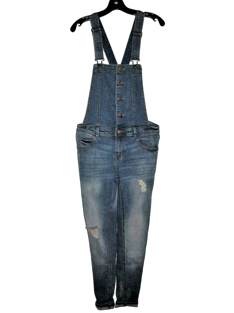 Forever 21 Skinny Stretch Distressed Jean Overalls
