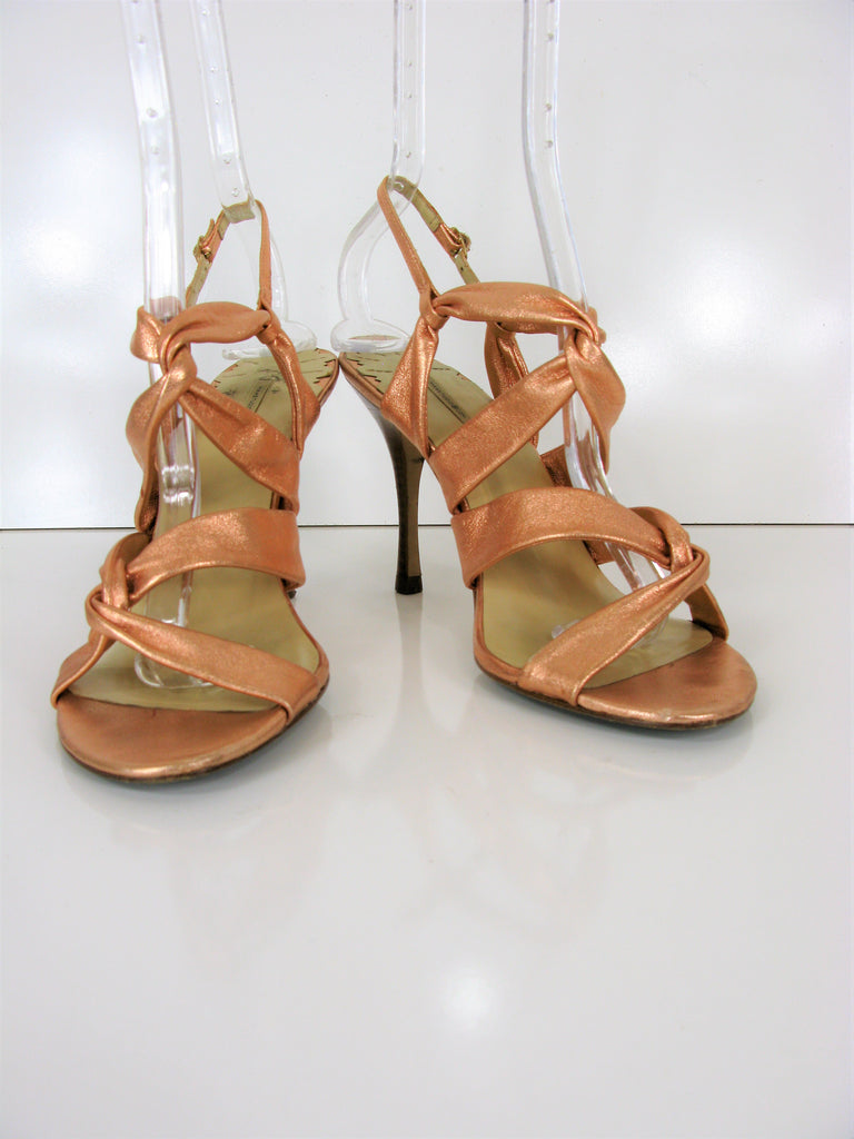 Max Studio Copper Metallic Strappy Sling Back Sandals 7/7.5