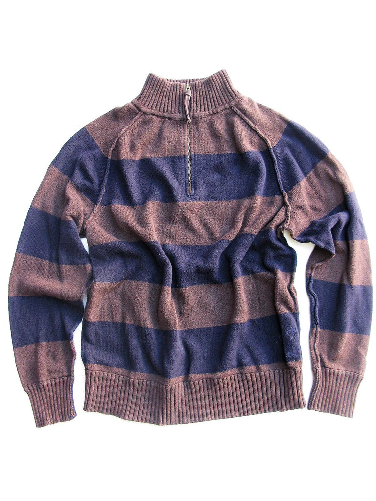 AE American Eagle Striped Pullover 1/4 Zip Front Sweater XL