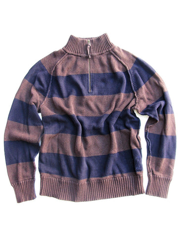 Men's Sweater AE American Eagle Striped Pullover 1/4 Zip Front Sweater XL