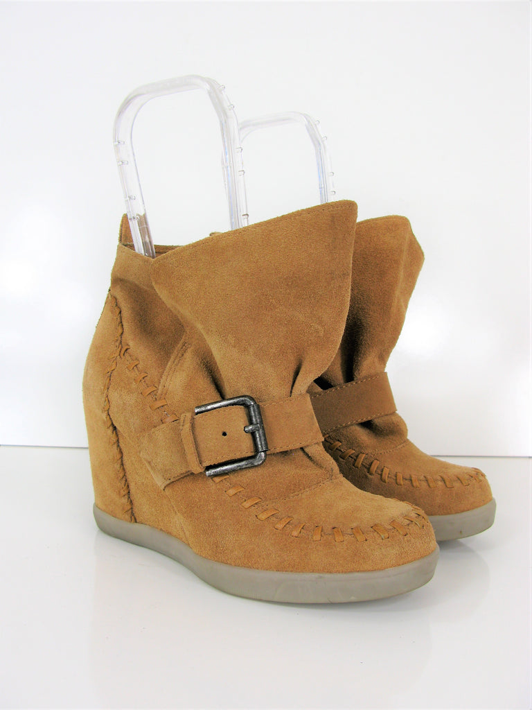 Luxury Rebel Stitched Moccasin Wedge Booties 36