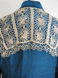 Vintage Raw Silk Teal Blue Antique Lace Trim Overcoat M - ruby & sofia