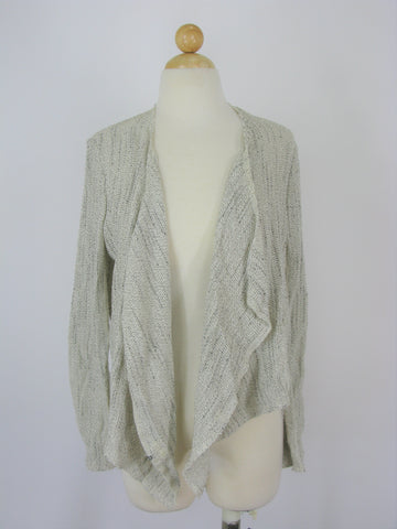 Designer Open Weave Draped Wrap Cardigan S