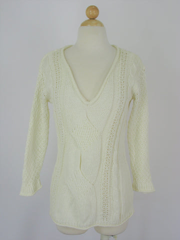Gap Cable Open Knit V Neck Slouch Sweater S