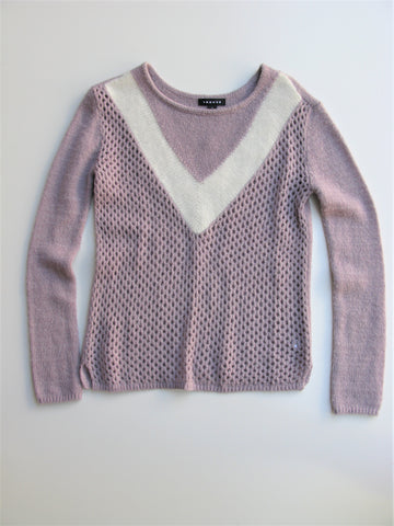Nordstrom Trouve' Lavender Open Diamond Stitch Knit Sweater S NWOT