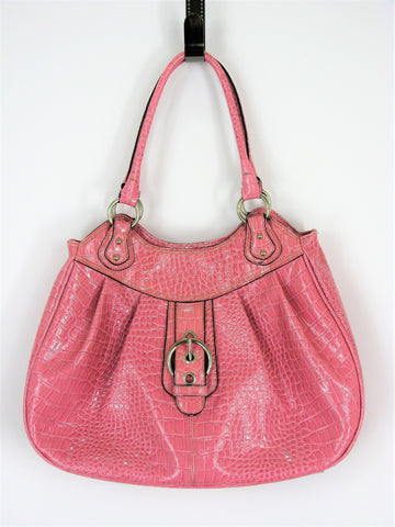 Nine West Crocodile Embossed Pink Patent Tote Handbag