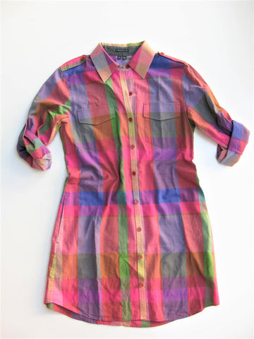 Theory Virgilia Multi-Colored Plaid Shirt Dress 8