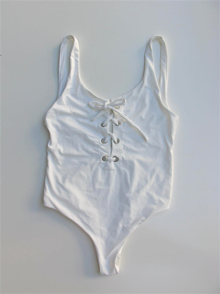 Lace-up Cheeky One-piece Swimsuit White M/L