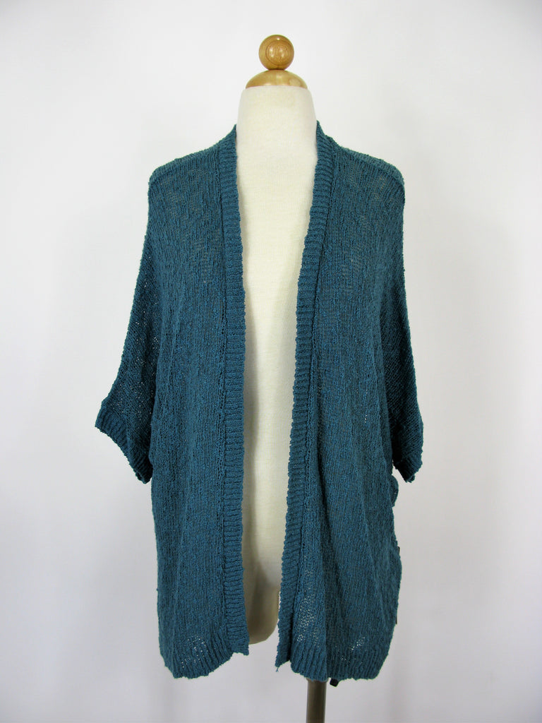 Sun & Shadow Teal 'Tapestry' Slub Knit Open Cardigan M NWT