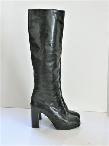 Vintage Charles Gallay Italian Leather Knee High Boots
