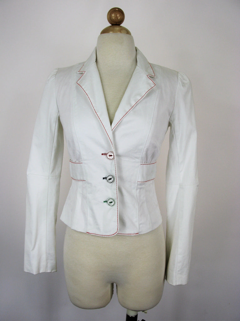 Luella x Target White Cotton Colored Stitching & Buttons Blazer XS