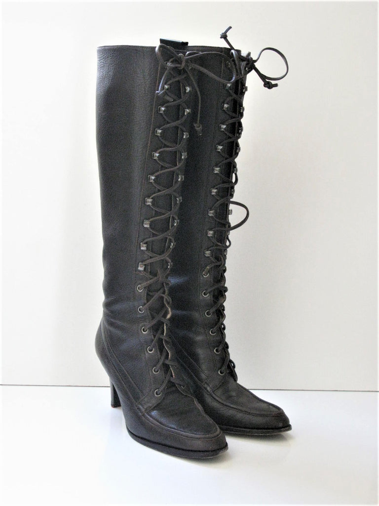 Michael Kors Moccasin Lace Up Knee High Boots