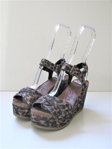 Leopard Print Buckled Platform Sandals by Mad Love