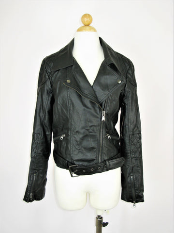 Bar III Quilted Faux Leather Motorcycle Jacket L