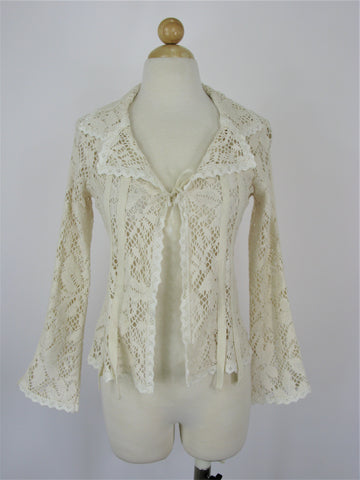 Cloanice Paris Lace Crochet Bell Sleeve Jacket S
