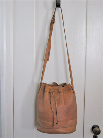 Vintage Boho Hippie Chic Leather Bucket Bag Purse