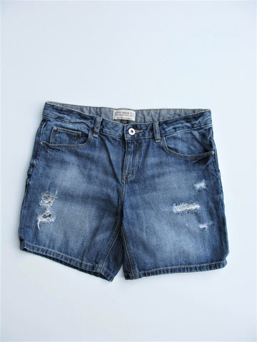Zara Distressed Jean Bermuda Shorts 8/S