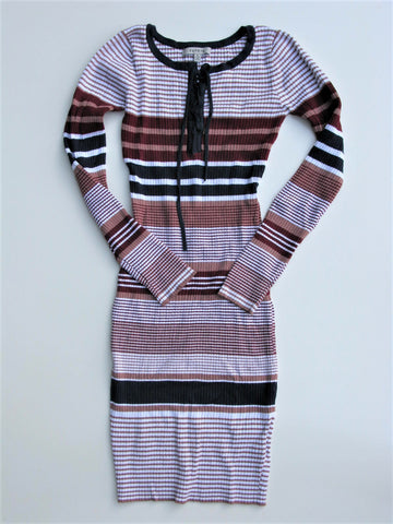 Papaya Striped Ribbed BodyCon Dress S