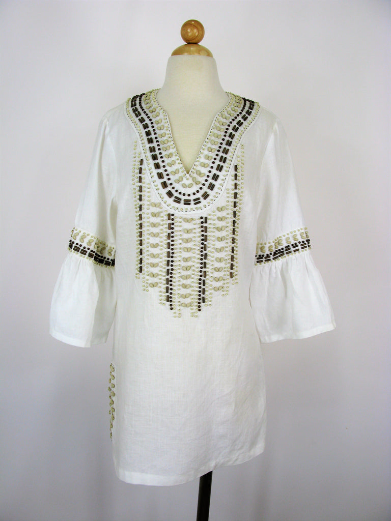 ETCETERA Linen Beaded Tunic Boho Hippie Chic Top 6