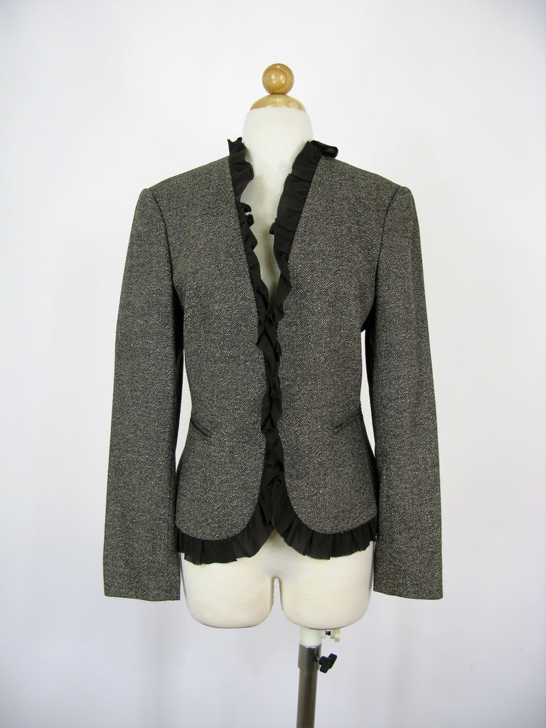 Michael Kors Made In Italy Wool & Silk Tweed Silk Trimmed Jacket 10