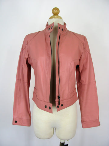 USA Leather Pink Leather Motorcycle Jacket S