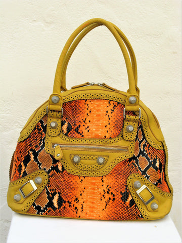 Nicole Lee Reptile Print Studded Bowler Bag