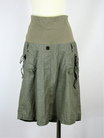 Patch Khaki Linen Maternity Skirt M