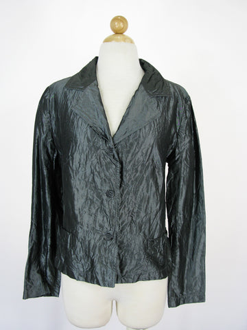 Hella-Barbara Rank Steel Grey Silk Taffeta Blazer Jacket 4/6