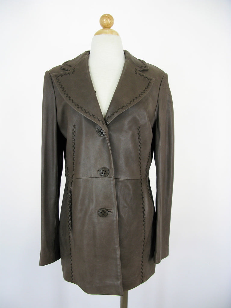 Jones New York Super Soft Leather Cross Stitch Coat M